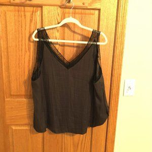 Olive double V tank with black lace, nearly new